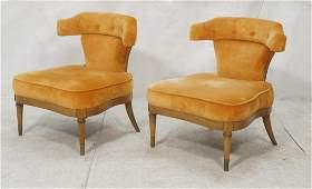 Pr Orange Velvet Upholstered Decorator Side Chair