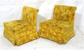 Pr Modernist Slipper Chairs Velvet gold tone pu