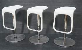 Set 3 Modernist Italian Bar Stools Molded white