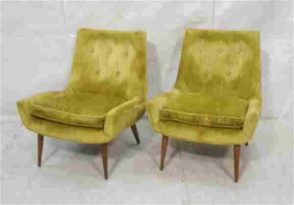 Pr Modernist Low Arm Lounge Chairs. Green velvet