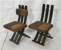 Pr HARVEY PROBBER Modernist Slat Lounge Chairs. D