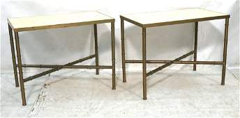 Pr Faux Bamboo Brass Side Tables. Inset Capiz She