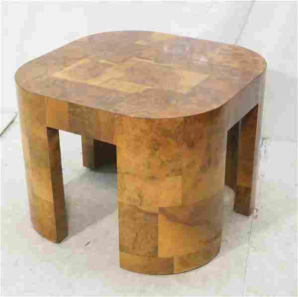 PAUL EVANS Patchwork Burl Wood Side Table. Square