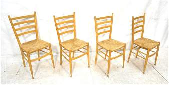 Set 4 Ladder Back Dining Chairs. Drumstick Legs.