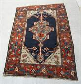 62 x 41 Handmade Blue Wool Oriental Carpet Ru