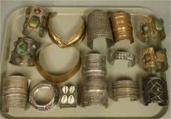Large 15pc Lot Tribal Ethnic Metal Cuff Bracelets