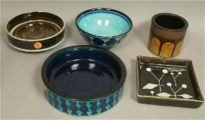 5pc RORSTRAND Ceramic Pottery Dishes Bowls. SYLVI