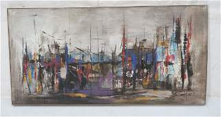 Large Modernist HARRY DAY Waterscape Oil Painting