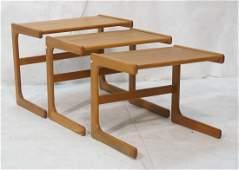 Set Three Nesting Tables. Danish Modern Teak.