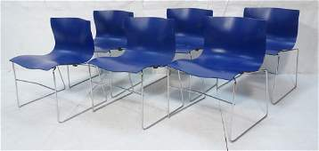 Set 6 KNOLL by VIGNELLI Blue Molded Dining Chairs