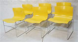 Set 6 KNOLL by VIGNELLI Yellow Molded Dining Chai