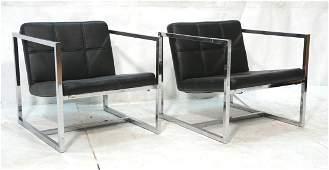 Pr Square Chrome Frame Leather Lounge Chairs. Squ