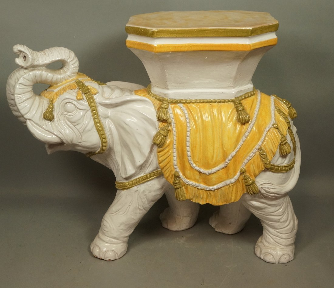 Large Ceramic Elephant Side Table.  Italian. Heav
