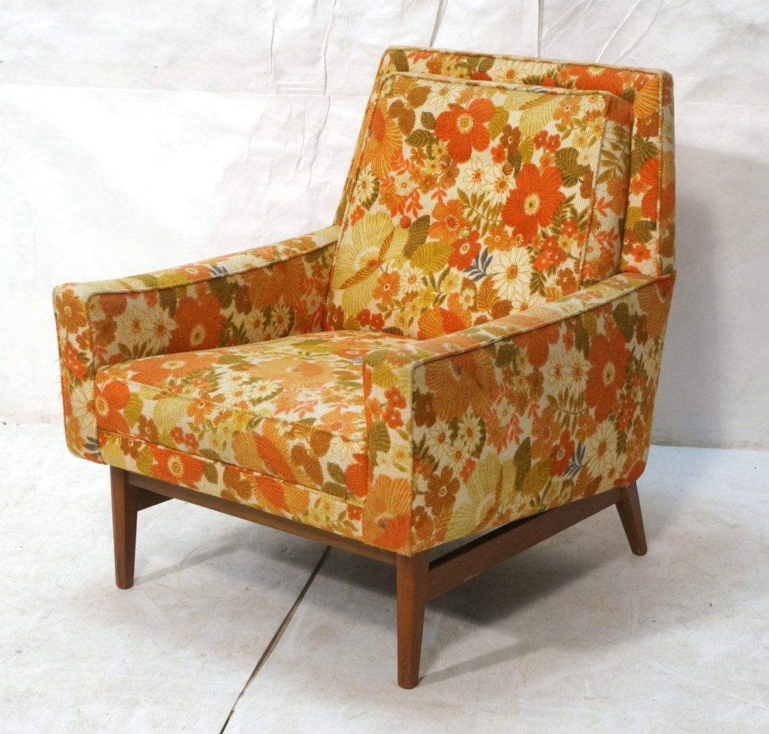 McCobb Style Lounge Chair.  Floral Upholstered Mo