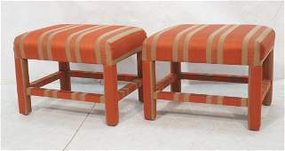 Pr Upholstered Stools Benches. Parson style. ERWI