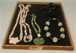 5pc Lot Beaded Necklaces. Two Rose Quartz Necklac
