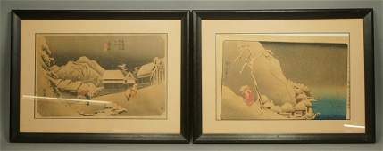 Pr Japanese Woodblock Prints. Signed. Both are