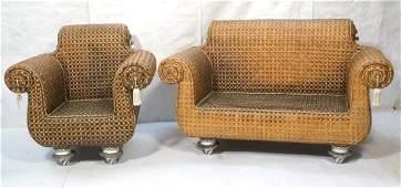 MACKENZIE CHILDS 2pc Woven Rattan Sofa & Arm Chai