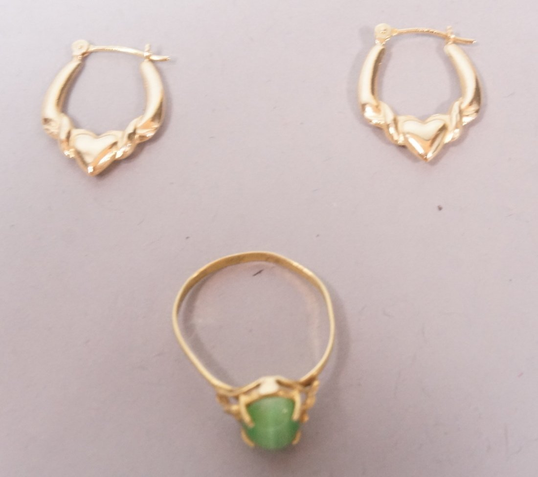 Gold Jewelry.  Pair 14K gold Earrings and 18K gol