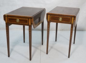 Pair Of Banded Pembroke Side Tables. Inlaid Bell