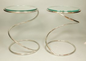 Pr Pace Chrome Spiral Spring Tables. Round Glass