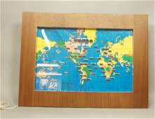WORLD TIME Wall Clock 1959 Lights up in Wood Fr