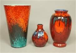 3pcs POOLE England Art Pottery Vases. All with de