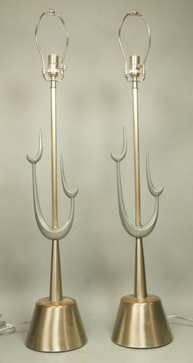 Pr Mixed Metals Modernist Table Lamps. Graphic Fo
