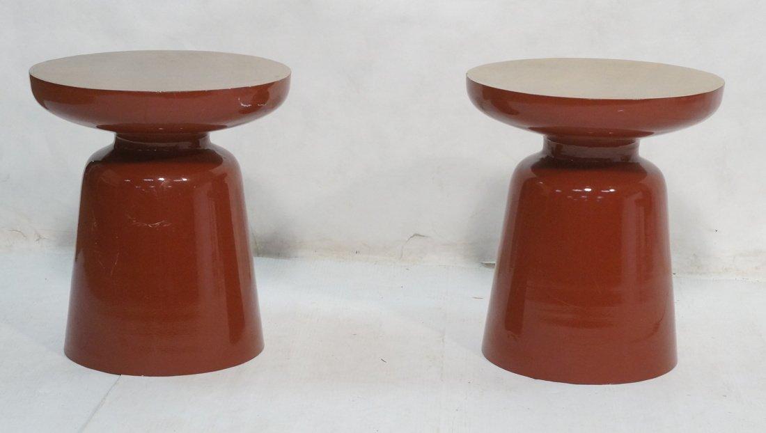 Pr Metal Modernist Decorator Stools. Brick enamel