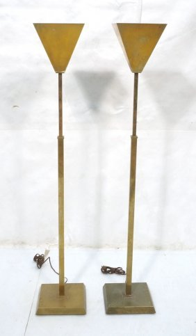 Pr Chapman Brass Torchieres. Modernist Floor Lam