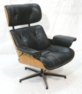 Eames Style Lounge Chair. Black Leather With Wood