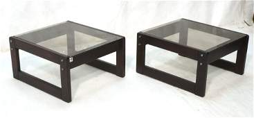 Pr LAFER Rosewood Brazil Coffee Tables. Smoked Gl
