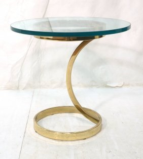 Modernist Contemporary Brass Tone & Glass Top Sid