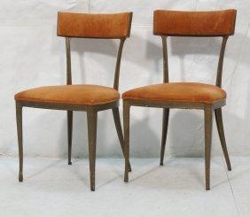 Pr Painted Cast Aluminum Side Dining Chairs. Ita
