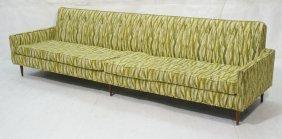 Extra Long Urban Modernist Sofa Couch. Green Patt