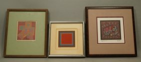 Set 3 Modernist Graphic Prints. 1) Victor Vasarel
