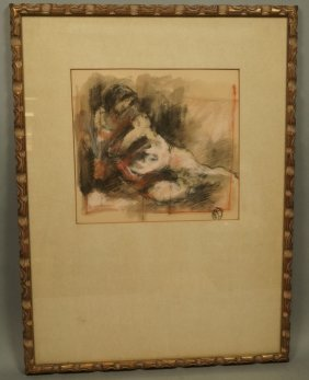 Charcoal Drawing Of Reclining Woman. Signed.