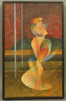 Modernist Female Nude Oil Painting. Andrew Moore.