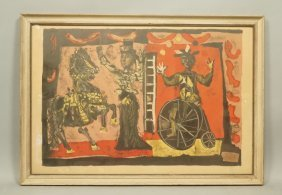 Clave Signed Print. Circus Scene With Horse And B