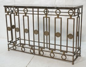 Marble Top Decorator Iron Hall Console Table. Bla