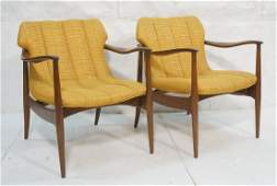 Pr Gold Upholstered Lounge Chairs Modernist Sha