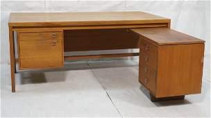 H.P. HANSEN Danish Modern Teak Desk. Executive si