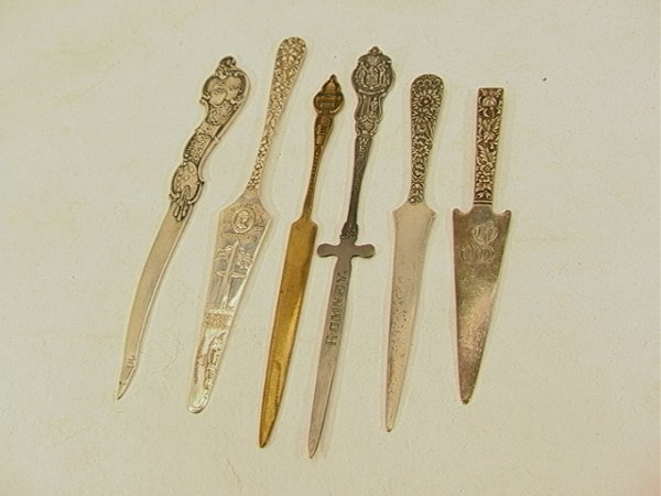 16: 6 pc Lot STERLING Letter Openers STIEFF, KIRK SON;