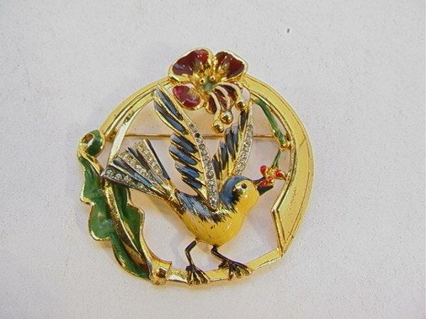 187: Coro Craft Sterling and Rhinestone Bird Pin.  Enam