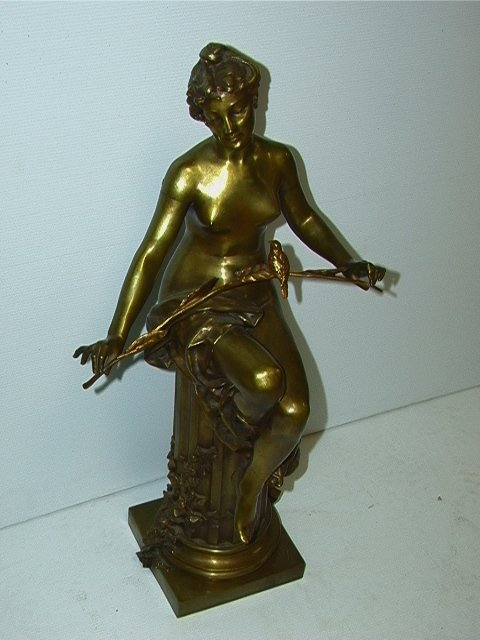531: OBIOLS Vintage Brass Statue of Woman with Bird.