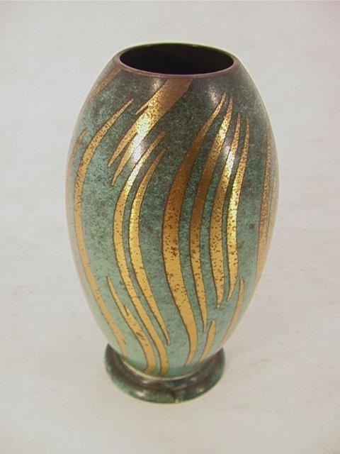 702: WMF IKORA  Patina Brass Metal Vase. Impressed mark