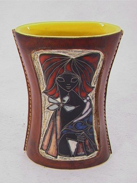 704: FANTONI Style Leather Ceramic Vase, Italy. Ceramic