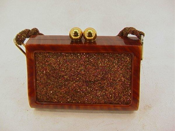 706: FRE-MOR CREATION Tortoise Beaded Vintage Handbag.