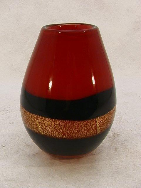 708: Italian Murano Art Glass Cased Vase. Large Heavy V