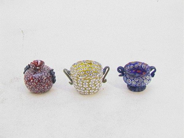 714: 3 PC MURANO GLASS MILLE FIORE Lot of Three Miniatu